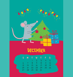 December calendar page with cute christmas vector