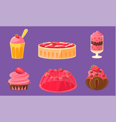 delicious sweets and desserts set ice cream cake vector image
