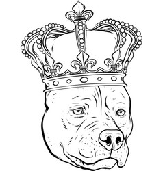 Draw in black and white dog with crown vector