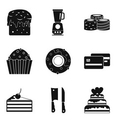 Easter cake icons set simple style vector