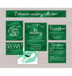 Emerald printable wedding typography set of cards vector