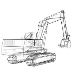 excavator black and white eps10 vector image