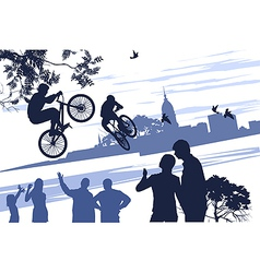 extreme bikers vector image vector image