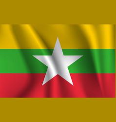 Flag myanmar realistic waving flag republic vector