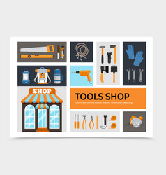 flat tools shop infographic concept vector image