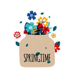 flowers bouquet springtime concept vector image