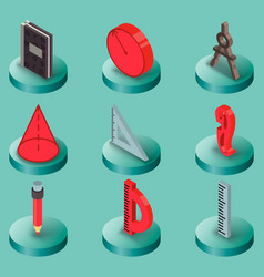 Geometry color isometric icons vector