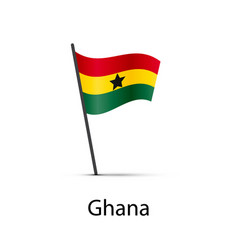 ghana flag on pole infographic element on white vector image