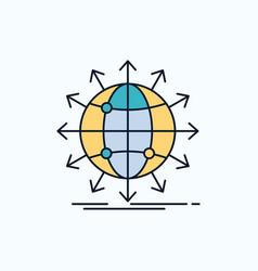 Globe network arrow news worldwide flat icon vector