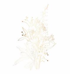 golden sketch flowers bouquet hand painted flower vector image