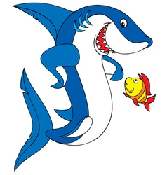 great white shark and coral fish vector image