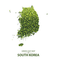 Green leaf map of south korea vector