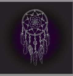Hand drawn ornate dreamcatcher in white contour vector