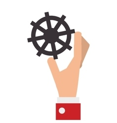 hand with industrial wheel cog gear vector image