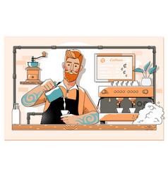 Handsome barista preparing cup coffee for vector