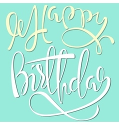 Happy Birthday white and yellow lettering on mint vector image
