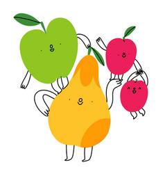 happy cartoon fruits composition vector image
