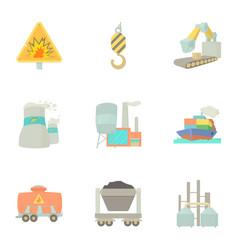 heavy industry icons set cartoon style vector image
