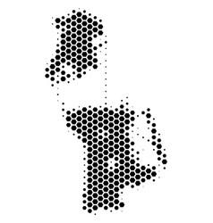 Hexagon halftone chinese macau map vector