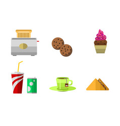 Icons sweet fast food elements vector