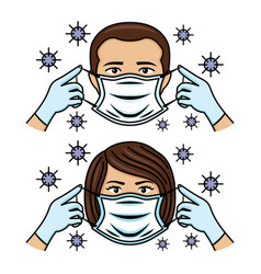 Icons with people wearing a protective mask vector