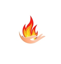 Isolated abstract fire logo Flame in hand vector