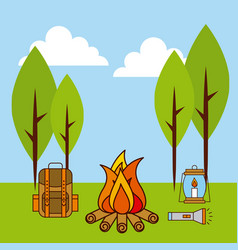 Landscape fire camp backpack lamp flashlight vector