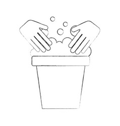 Laundry bucket with hands vector