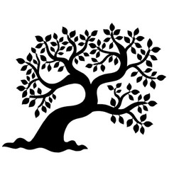 Leafy tree silhouette vector