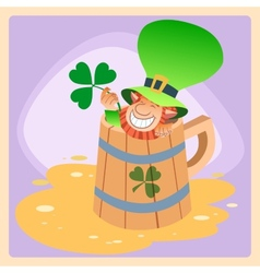 Leprechaun in a mug of beer St Patrick day vector
