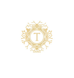 letter t initial logo for wedding boutique luxury vector image