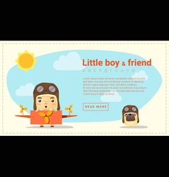 Little boy pilot and friend background vector image