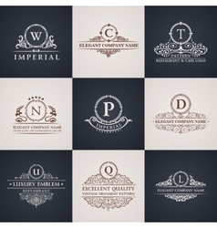 Luxury logo set Calligraphic pattern elegant vector image