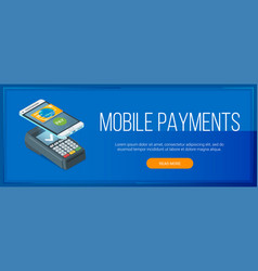 mobile payment banner vector image