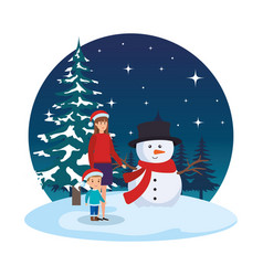 mother and son with christmas clothes in snowscape vector image