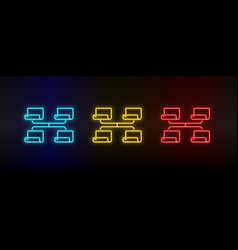 Neon icon set network share set red blue vector