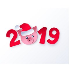 New year cute piggy face in santa hat vector