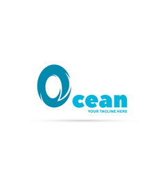ocean wave logo the letter o symbolizes wave vector image