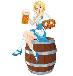 Oktoberfest Girl on the Keg vector image