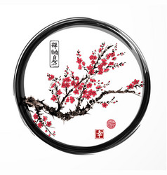 Oriental sakura cherry tree blossoming in black vector