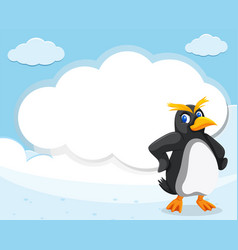 penguin and cloud banner vector image