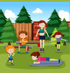 People exercising in park vector