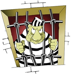 Prisoner behind bars cartoon vector