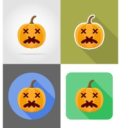 pumpkins for halloween flat icons 09 vector image