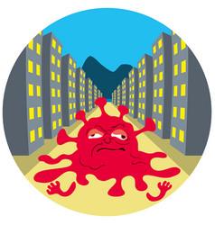 quarantine and dying coronavirus on empty street vector image