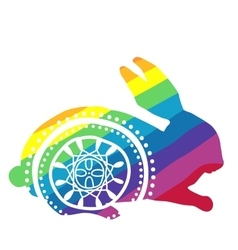 Rainbow rabbit with ornament vector image