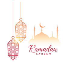 Ramadan kareem greeting design with hanging lamps vector