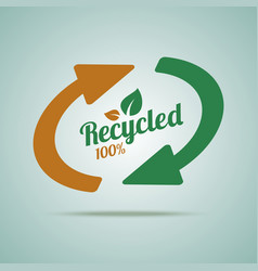 Recycled sign for organic products vector image