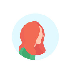 Redhead woman profile avatar isolated female vector