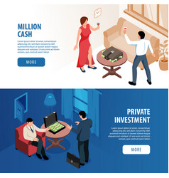 Rich people isometric banners vector